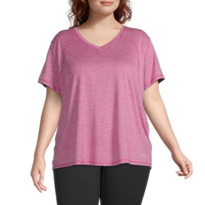 Xersion Everair Womens V Neck Short Sleeve T-Shirt Plus