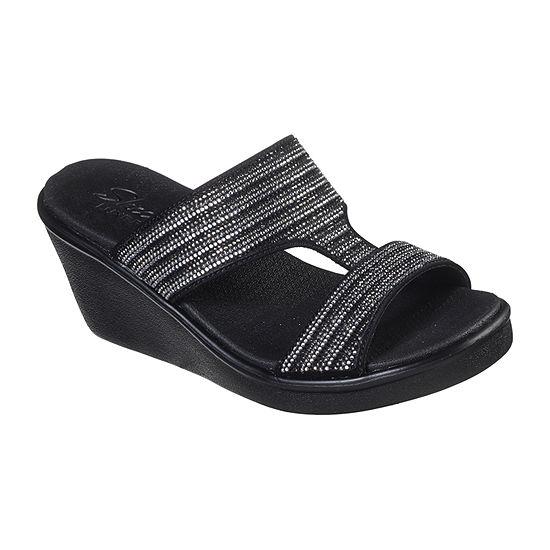Skechers Womens Rumble On Bling Gal Wedge Sandals