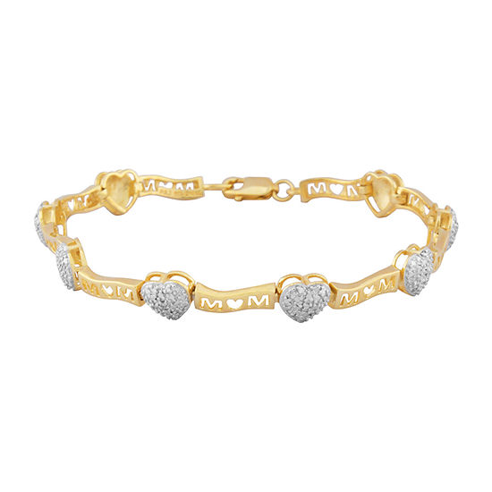 Silver Reflections Mom Diamond Accent 7.25 Inch Link Round Tennis Bracelet