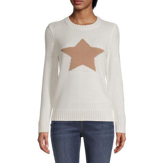 St. John's Bay-Tall Womens Crew Neck Long Sleeve Star Pullover Sweater