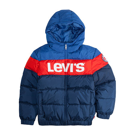 Levi's Big Boys Water Resistant Heavyweight Puffer Jacket, X-large , Blue