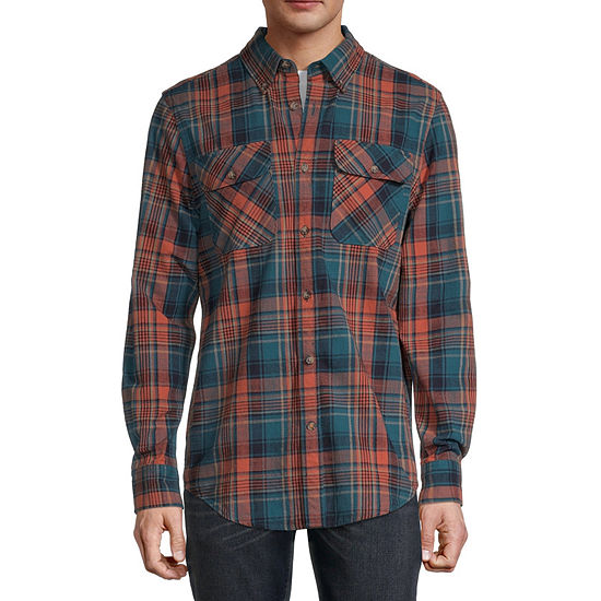 St. John's Bay Outdoor Mens Long Sleeve Plaid Button-Down Shirt