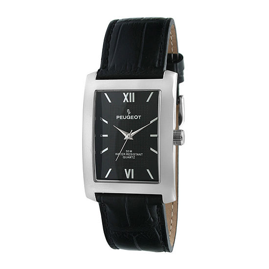 Peugeot® Mens Black Dial Black Leather Strap Watch
