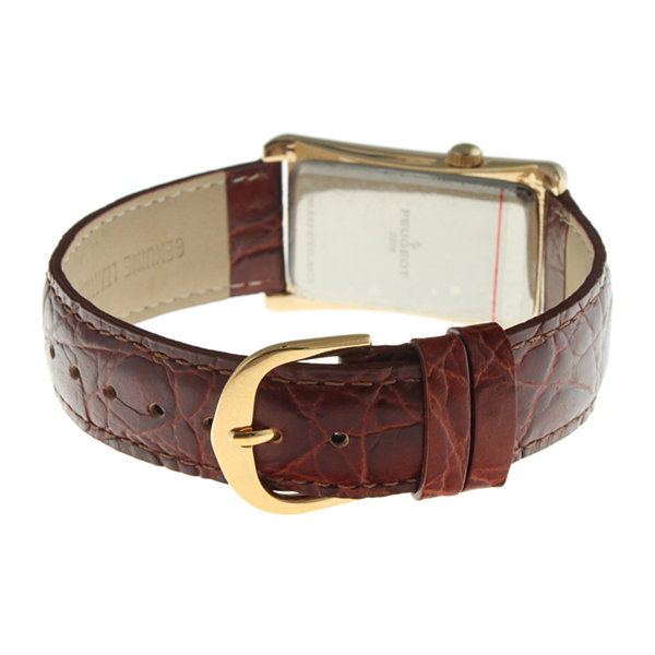 Peugeot® Mens Brown Leather Strap Vintage Doctor's Watch