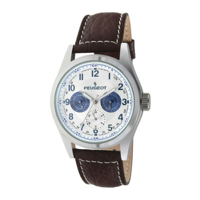 Peugeot® Mens Brown Leather Strap Watch