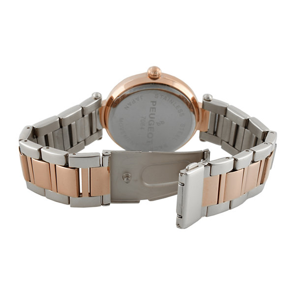 Peugeot® Womens Crystal-Accent Rose-Tone Bezel Two-Tone T-Bar Bracelet Watch