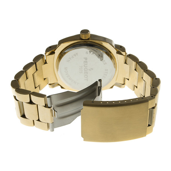 Peugeot® Womens Crystal-Accent Gold-Tone Boyfriend Bracelet Watch