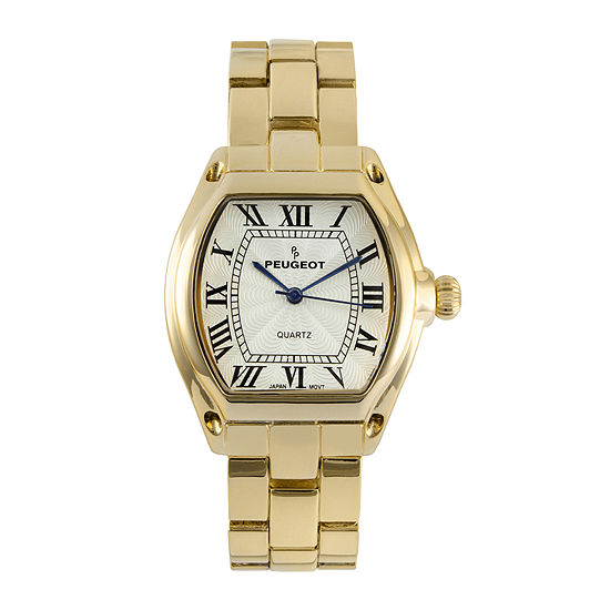 Peugeot® Womens Gold-Tone Tonneau Bracelet Watch