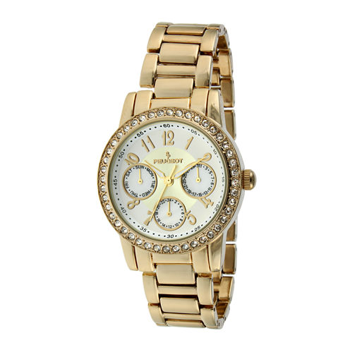 Peugeot® Womens Crystal-Accent Gold-Tone Bracelet Watch