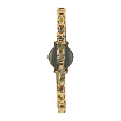 Peugeot® Womens Crystal-Accent Gold-Tone Petite Half-Bangle Watch