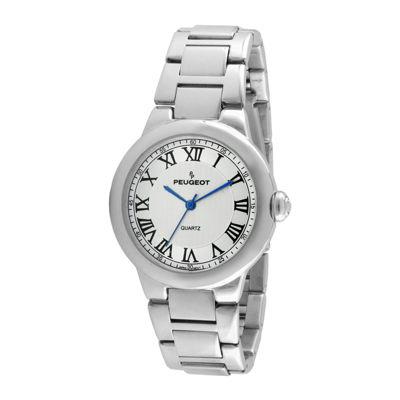 Peugeot® Womens Roman Gillouché Dial Silver-Tone Bracelet Watch
