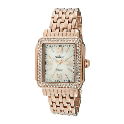 Peugeot® Womens Crystal-Accent Rose-Tone Panther-Link Bracelet Watch