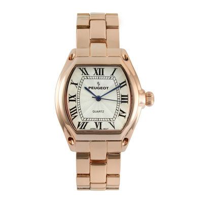 Peugeot® Womens Rose-Tone Tonneau Bracelet Watch
