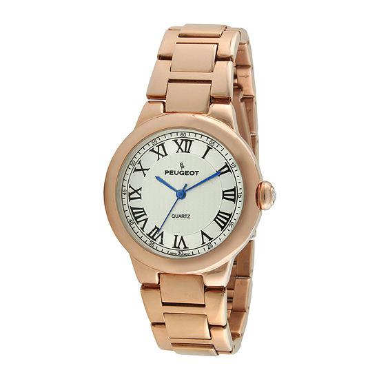 Peugeot® Womens Roman Gillouché Dial Rose-Tone Bracelet Watch