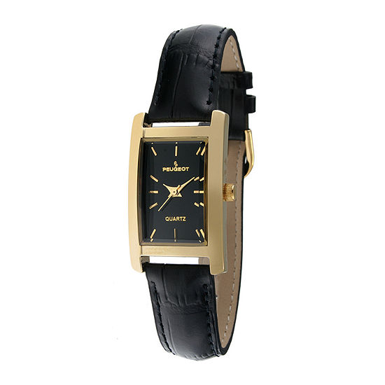 Peugeot® Womens Black Leather Strap Slim Watch