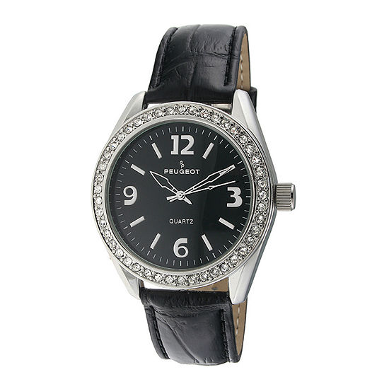 Peugeot Womens Crystal Accent Black Leather Strap Watch