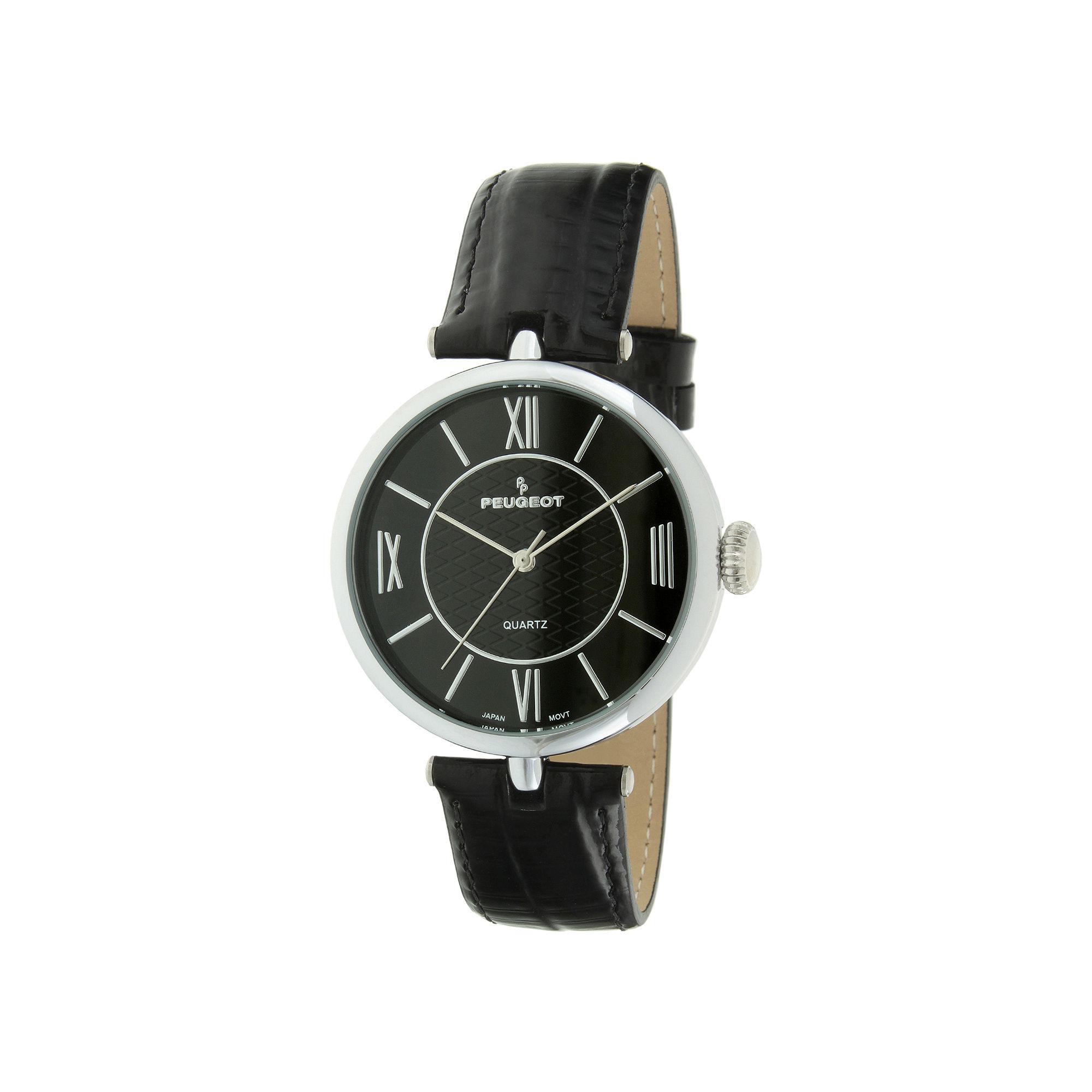 Peugeot Womens Black Leather Strap T-Bar Watch