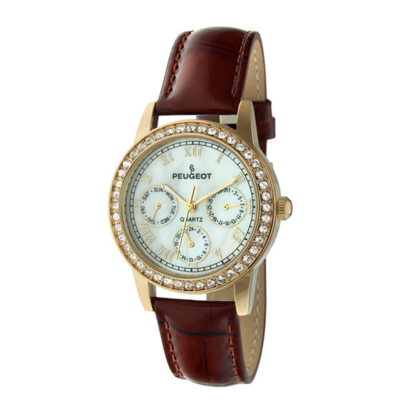Peugeot® Womens Crystal-Accent Brown Leather Strap Watch