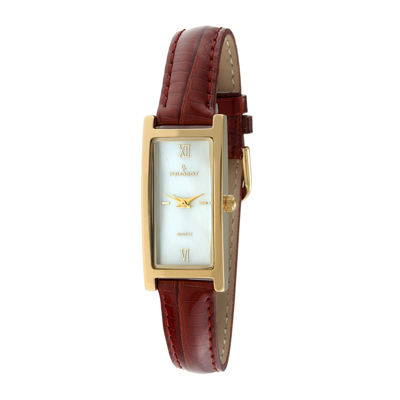 Peugeot® Womens Brown Leather Strap Rectangular Watch