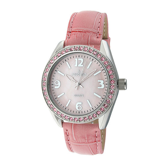 Peugeot® Womens Crystal-Accent Pink Leather Strap Watch