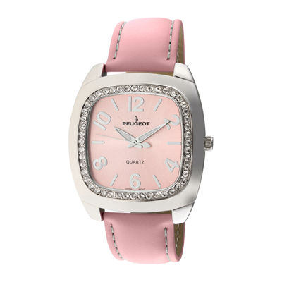 Peugeot® Womens Crystal-Accent Pink Leather Strap Boyfriend Watch