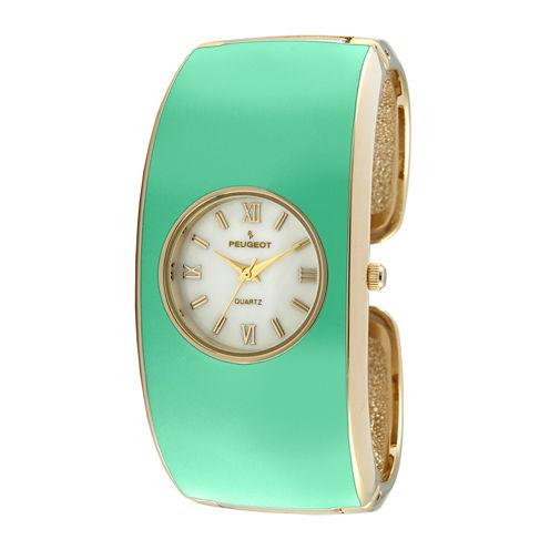 Peugeot® Womens Green Enamel Cuff Bangle Watch
