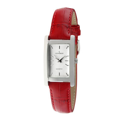 Peugeot® Womens Red Leather Strap Slim Watch