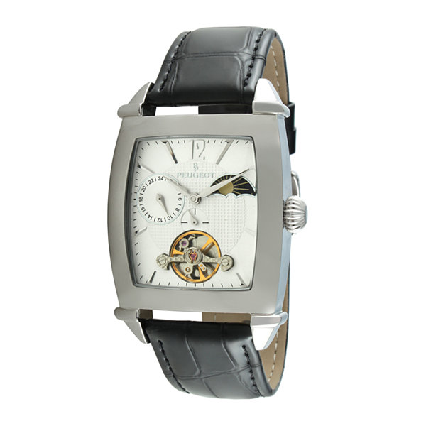 Peugeot® Mens Black Leather Strap Sun/Moon Automatic Watch