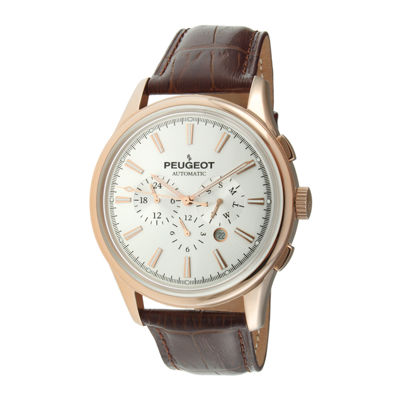 Peugeot® Mens White Dial Brown Leather Strap Automatic Watch