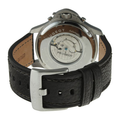 Peugeot® Mens Black Leather Strap Big Number Automatic Watch