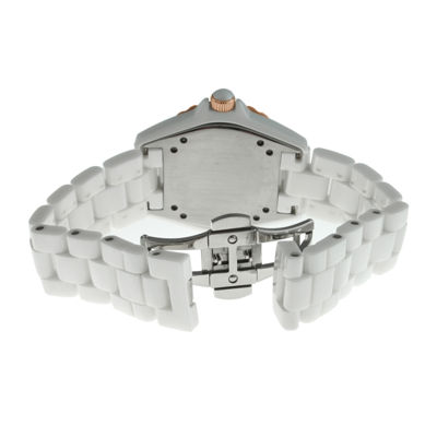 Peugeot® Womens Crystal-Accent Rose-Tone Bezel White Ceramic Bracelet Watch