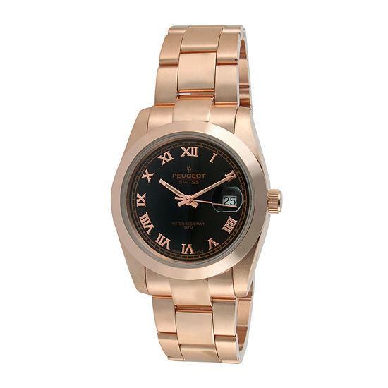 Peugeot® Womens Rose-Tone Stainless Steel Bracelet Watch