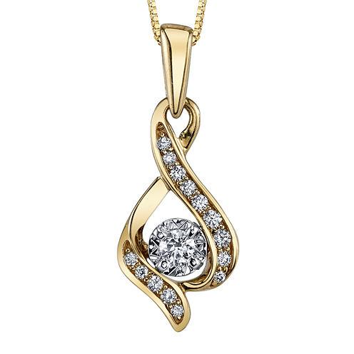 Sirena® 1/7 CT. Diamond 10K Yellow Gold Infinity Pendant Necklace