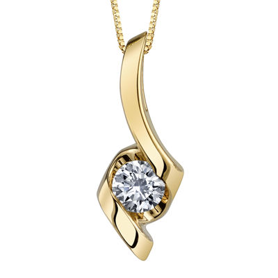 Sirena® 1/10 CT. Diamond 14K Yellow Gold Ribbon Pendant Necklace