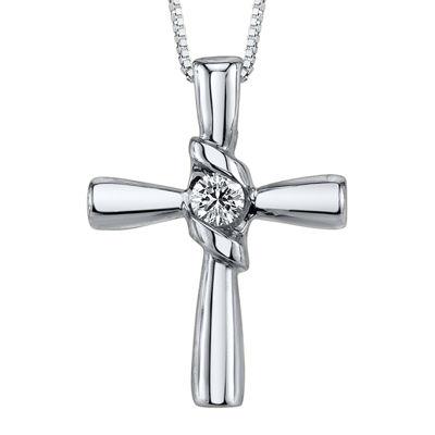 Sirena® 1/10 CT. Diamond 14K White Gold Cross Pendant Necklace