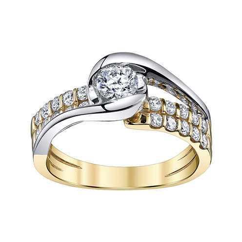 Sirena® 7/8 CT. T.W. Diamond 14K Two-Tone Gold Bypass Ring