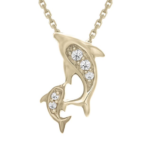 Diamond-Accent 10K Yellow Gold Dolphins Mini Pendant Necklace