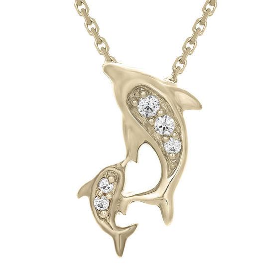 Diamond-Accent 10K Yellow Gold Dolphins Mini Pendant Necklace