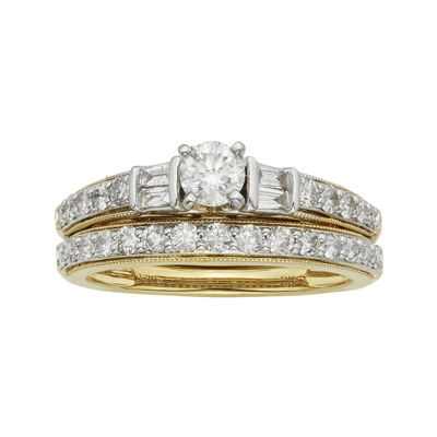 1 CT. T.W. Certified Diamond 14K Two-Tone Gold Bridal Ring Set