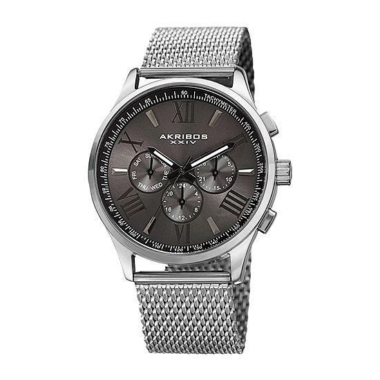 Akribos XXIV Mens Silver Tone Bracelet Watch-A-844ssb