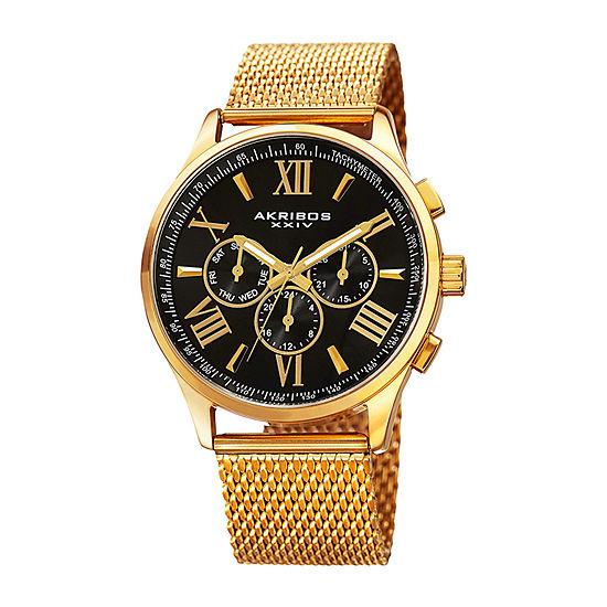 Akribos XXIV Mens Gold Tone Bracelet Watch-A-844ygb