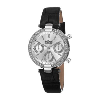 Burgi Womens Black Strap Watch-B-129ss