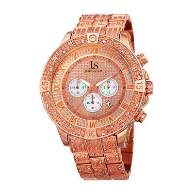 Joshua & Sons Mens Rose Goldtone Bracelet Watch-J-121rg