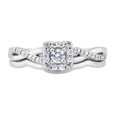 Womens 1/5 CT. T.W. Genuine White Diamond 10K Gold Bridal Set