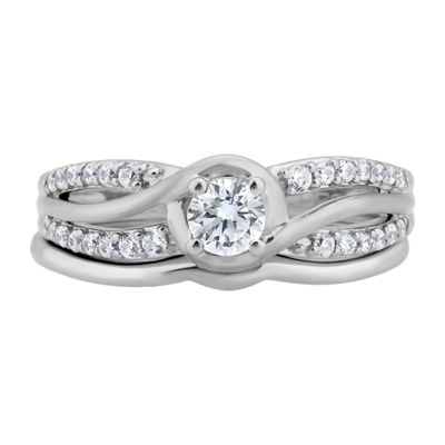 Womens 1/2 CT. T.W. Genuine White Diamond 10K Gold Bridal Set