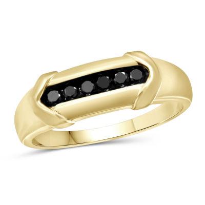 Mens 1/4 CT. T.W. Genuine Black Diamond 14K Gold Over Silver Fashion Ring