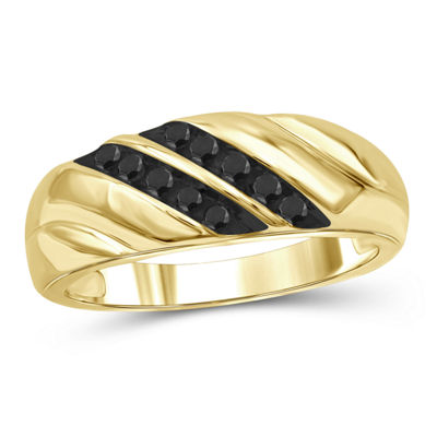 Mens 1/4 CT. T.W. Genuine Black Diamond 14K Gold Over Silver Fashion Ring