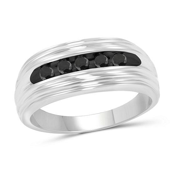 Mens 1/4 CT. T.W. Genuine Black Diamond Sterling Silver Ring