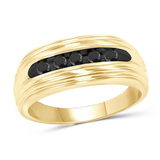Mens 1 4 Ct Tw Genuine Black Diamond 14k Gold Over Silver Fashion Ring