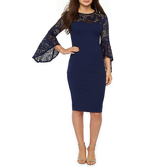 Premier Amour Long Bell Sleeve Sheath Dress